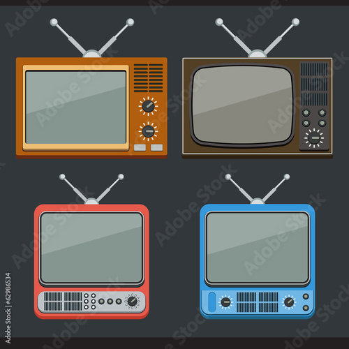 Retro TV sets flat icons