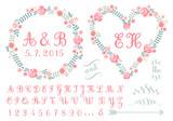 monogram in floral frames for weddings, vector set