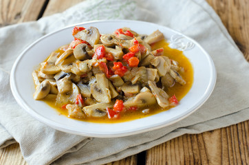 Stewed mushrooms with vegetables