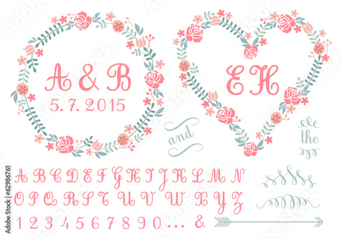 monogram in floral frames for weddings, vector set