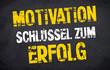 Kreidetafel mit Stempel und Motivation