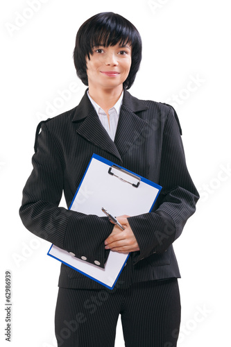 asian businesswoman wearing black suit holding clipboard with bl