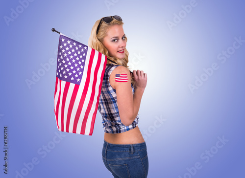 Caucasian woman with american flag tattoo