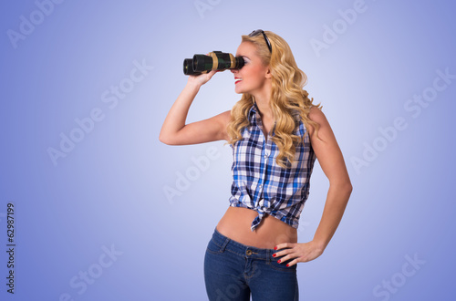 Caucasian Woman Looking Through Binocular