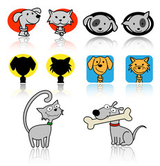 Set of cats and dogs icons.