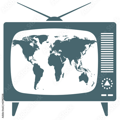 World map in retro TV