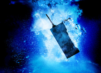 old mobile phone underwater