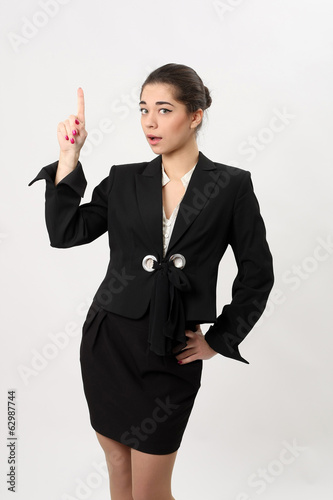 Surprised business woman on a white background