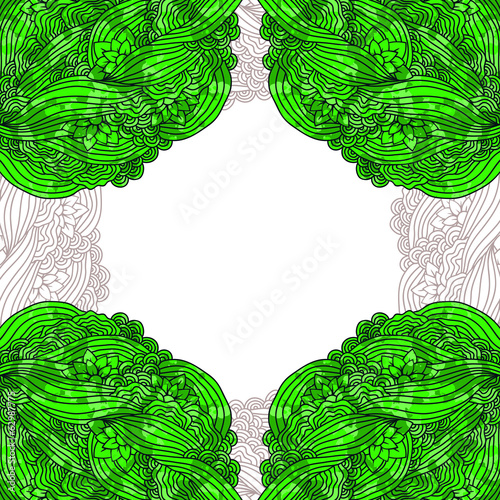 Abstract vector background. Doodle green frame.