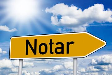 Wegweiser mit Notar