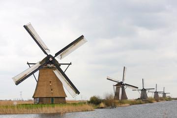 Famous Dutch windmills at Kinderdijk near Rotterdam