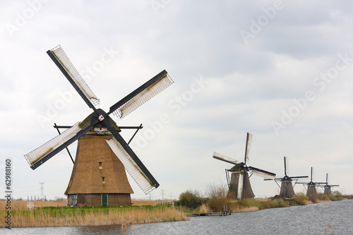 Famous Dutch windmills at Kinderdijk near Rotterdam