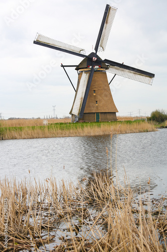 Dutch windmill at Kinderdijk, near Rotterdam, Holland