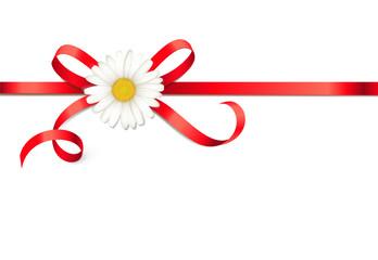 Rote Schleife mit Margeritenblüte