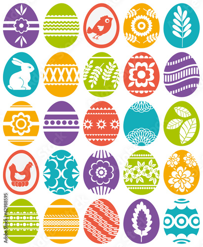 set of colour easter eggs, vector