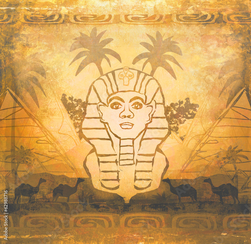 abstract grunge frame - Great Sphinx of Giza