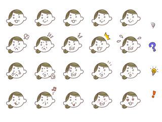 年配の女性の表情20種類