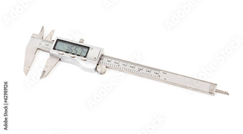 Digital calipers isolated on white.