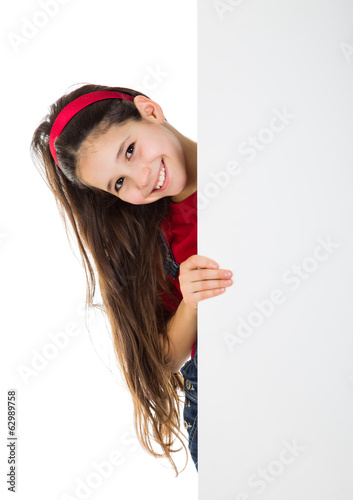 Girl peek out from vertical white banner