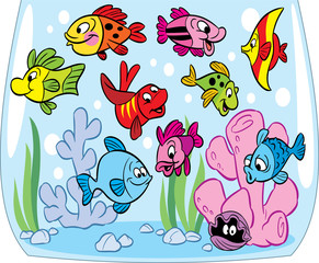 Cartoon fishes in aquarium