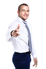 Happy businessman showing finger on camera