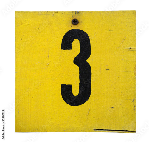 Number on the wooden plate