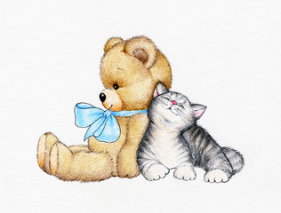 Teddy bear with kitten