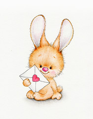cute bunny with envelope