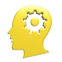 Human head gold gear 3d logo image