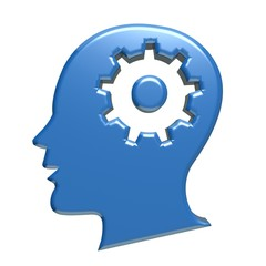 Human head blue gear 3d logo image