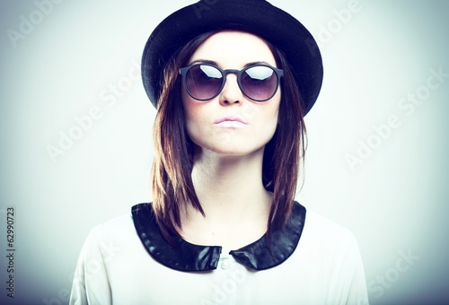 Retro fashion portrait of stylish woman