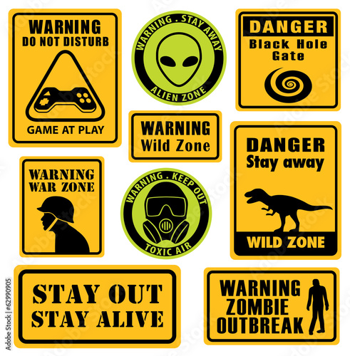 Set of unusual and funny warning signs.