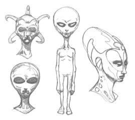 Set of alien portraits. Pencil.