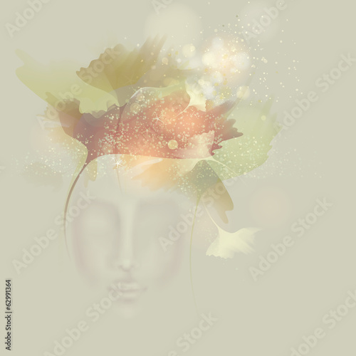 Autumn Beauty / Surreal illustration of Woman like Nature