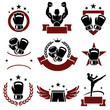 Boxing labels and icons set. Vector - 62991933