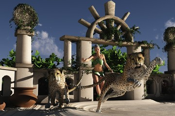 Jungle girl with cheetahs