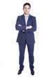 Full body portrait of a handsome business man, isolated on white