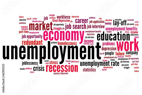 Unemployment - word cloud illustration