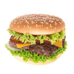 delicious hamburger over white