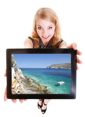 Businesswoman showing ipad tablet touchpad photo summer vacation
