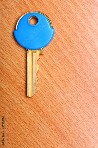 House key with blue plastic coats caps on table