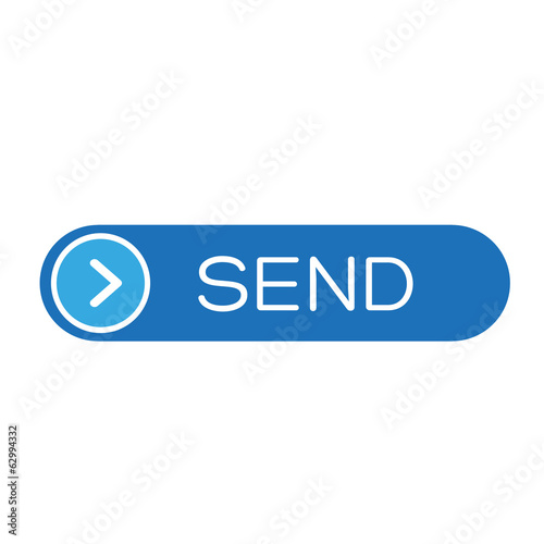 Blue send button, mail mesage vector