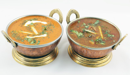 butter chicken and goat meat