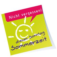 Post-it,Sommerzeit,Zeitumstellung,Kreide,Sonne