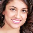 Perfect smile, face closeup of beautiful woman