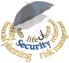 Security financial planning umbrella words