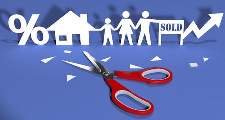 Scissors cut paper doll family home