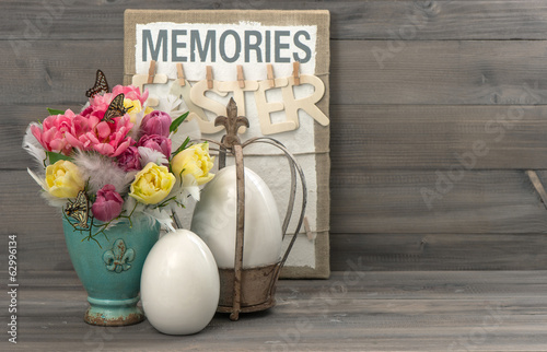 tulips with butterflies and easter eggs