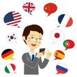翻訳アプリを使う男性