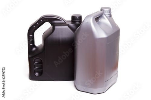 plastic containers of car oil